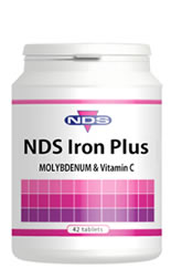 NDS Iron Plus  with molybdenum & vitamin C. Food State.